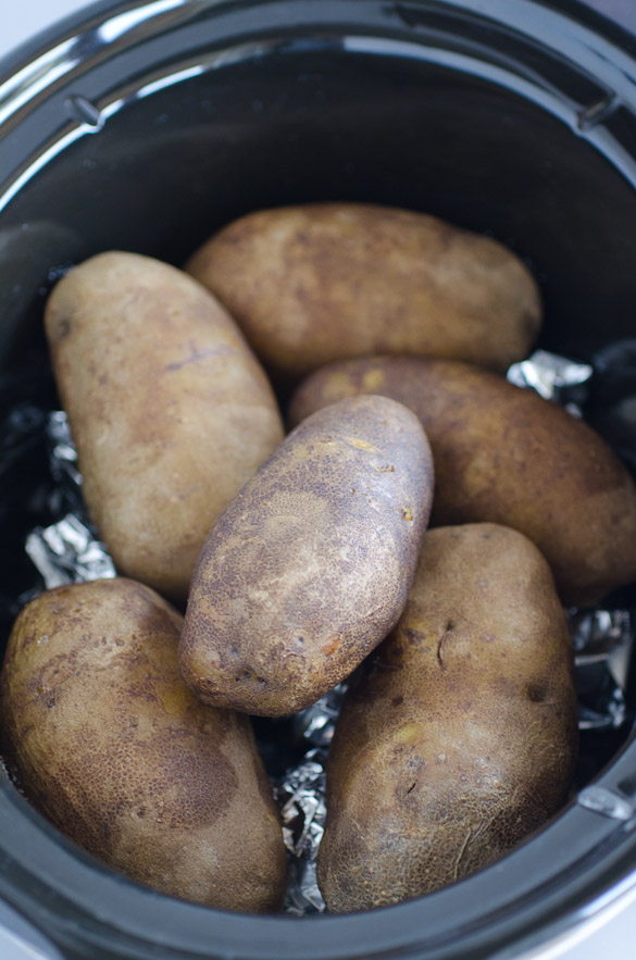 russet potatoes in a crock pot
