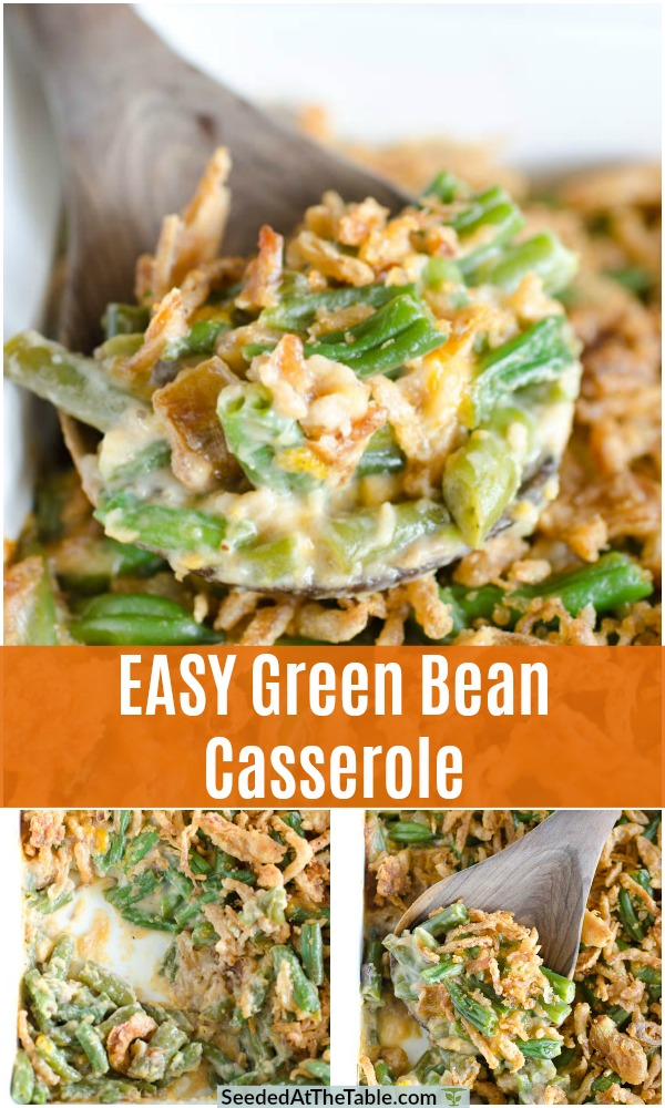 This easy green bean casserole recipe is the perfect classic side dish for Thanksgiving. A veggie casserole with only a few ingredients of tender green beans, a creamy sauce and crispy onion topping!