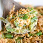 a scoop of green bean casserole