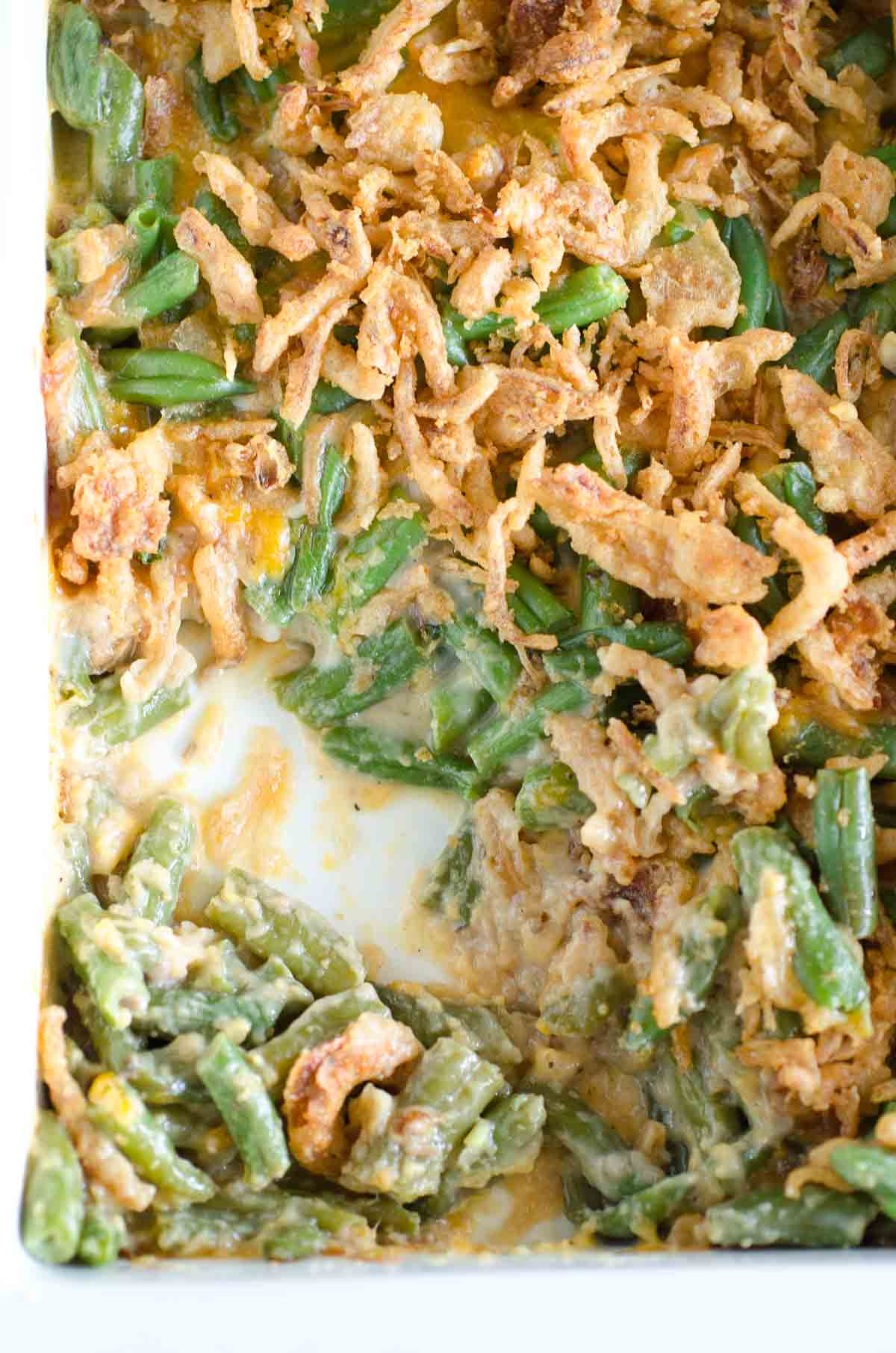 a pan of green bean casserole