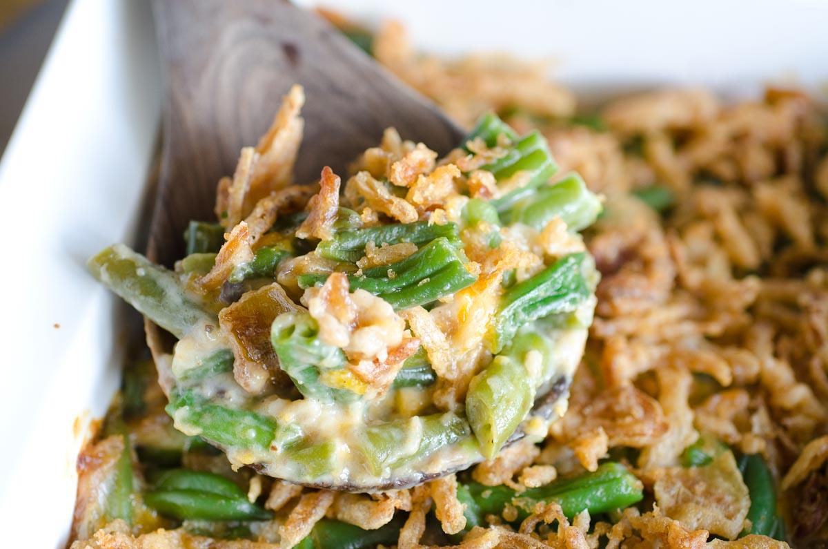 scoop of green bean casserole