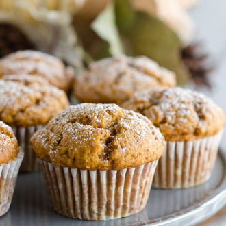 pumpkin muffins on a platter