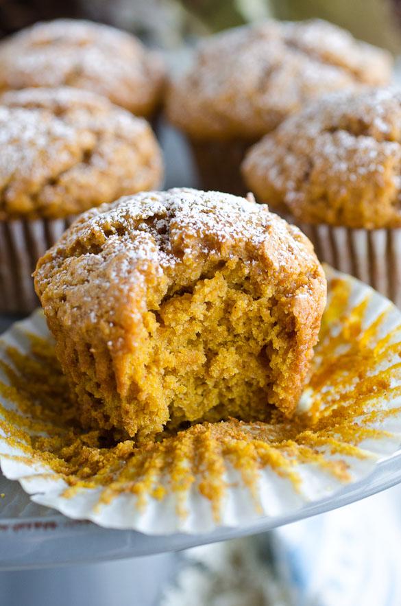 bite of pumpkin muffin