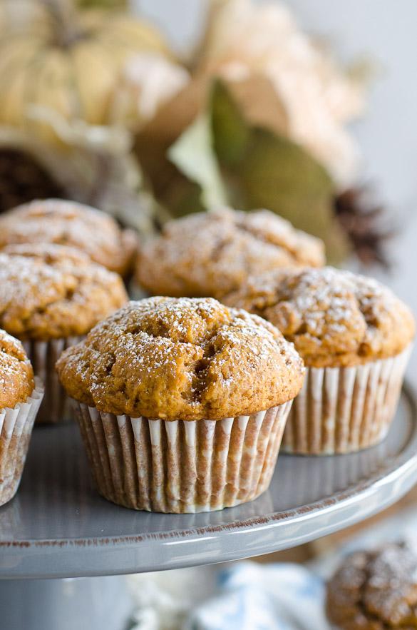 pumpkin muffins on a platter