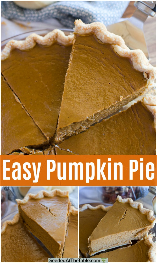 This easy pumpkin pie recipe is better than Libby's pumpkin pie and just as simple!  The refrigerated pie crust doesn't need to be pre-baked which means this pie comes together very quickly!