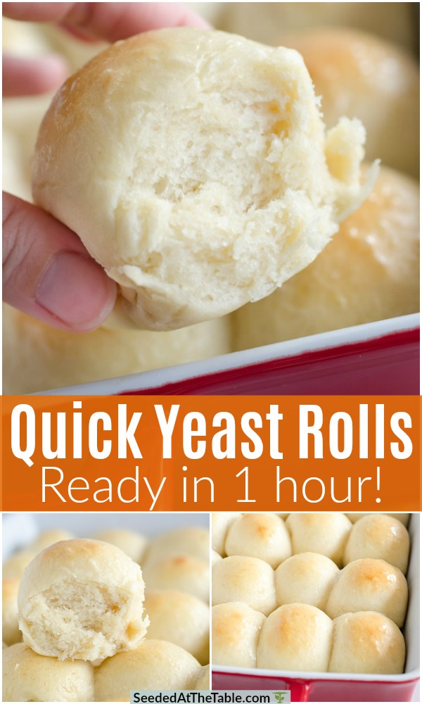 With this quick yeast rolls recipe, you can have homemade rolls ready in one hour!  These easy dinner rolls are buttery, fluffy, and so wonderful!
