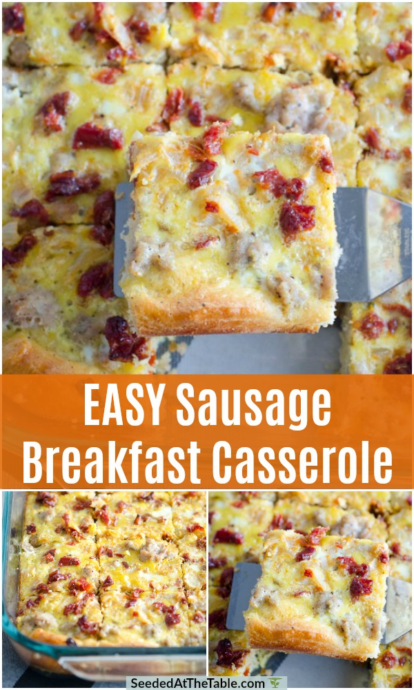 This easy sausage breakfast casserole is perfect to prepare ahead for a convenient breakfast or brunch.  This breakfast casserole recipe includes eggs, sausage and crescent roll dough plus any additional ingredients you want to mix in!