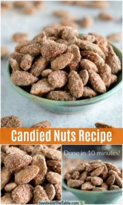 pinterest collage for candied nuts recipe