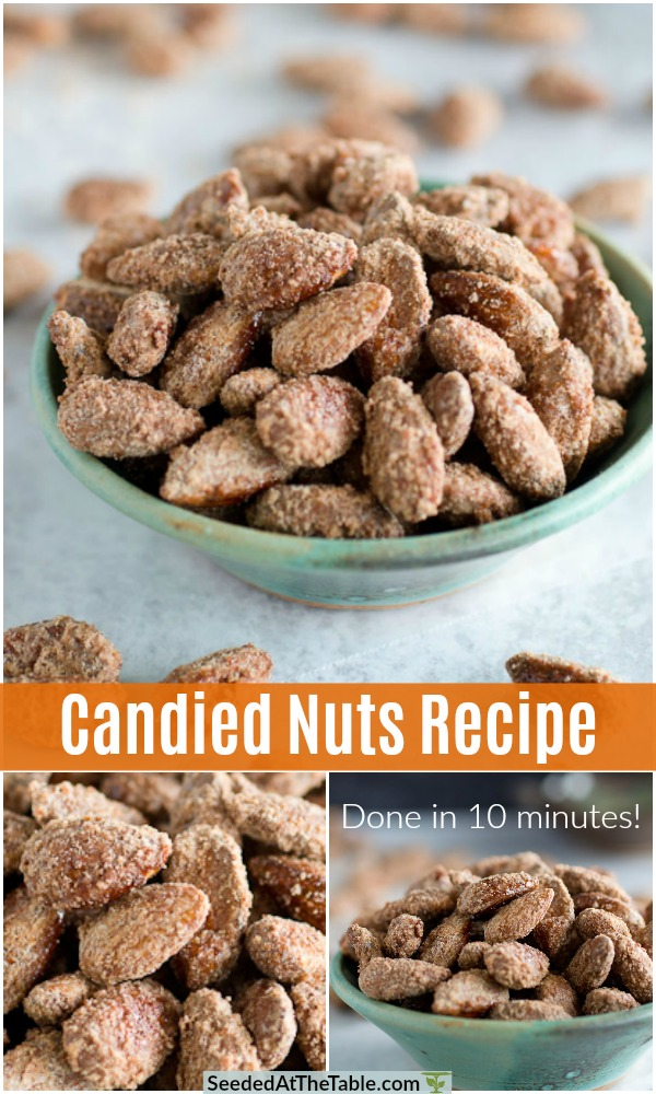 Use this candied nuts recipe to make candied almonds, candied pecans or candied walnuts within 10 minutes on the stove top! Any type of nuts will do! Perfect for holiday snacks or gifts!