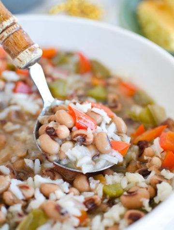 ladle of hoppin john soup