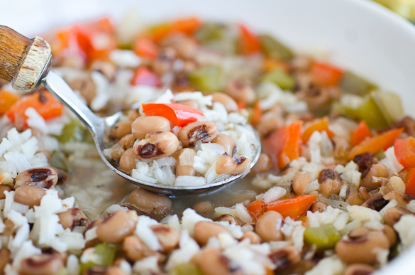 spoonful of hoppin' john soup