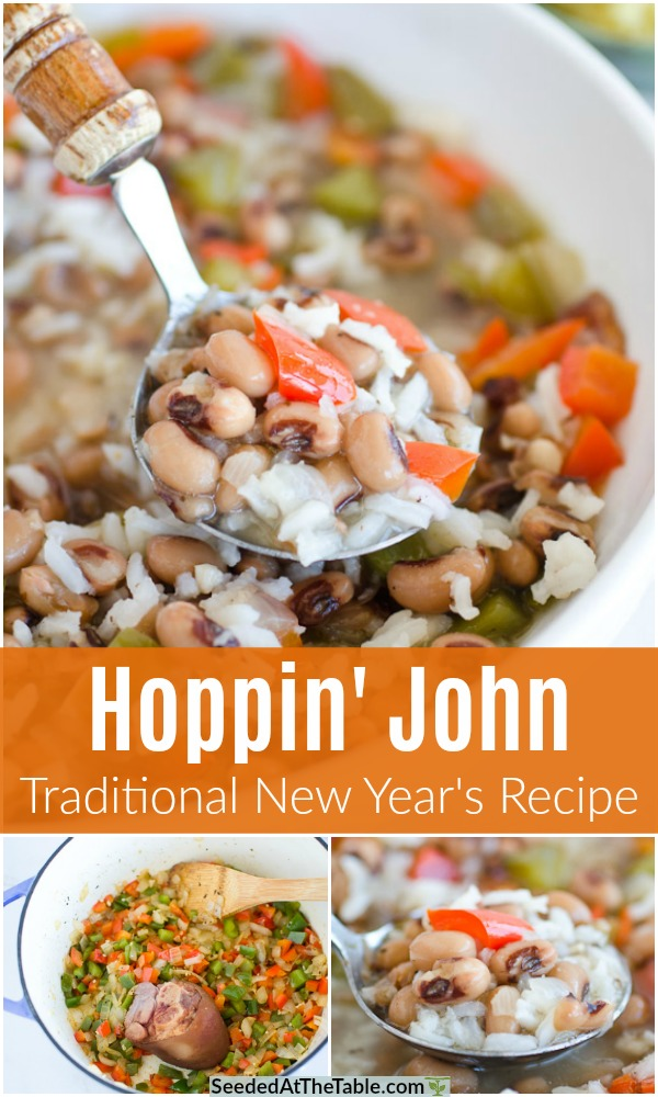 Hoppin' John is a Southern tradition for new years dinner with black eyed peas and rice.  Made with a smoky ham hock or salt pork, this black eyed pea soup is believed by some to bring good luck!