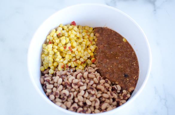ingredients in black eyed pea dip in a bowl