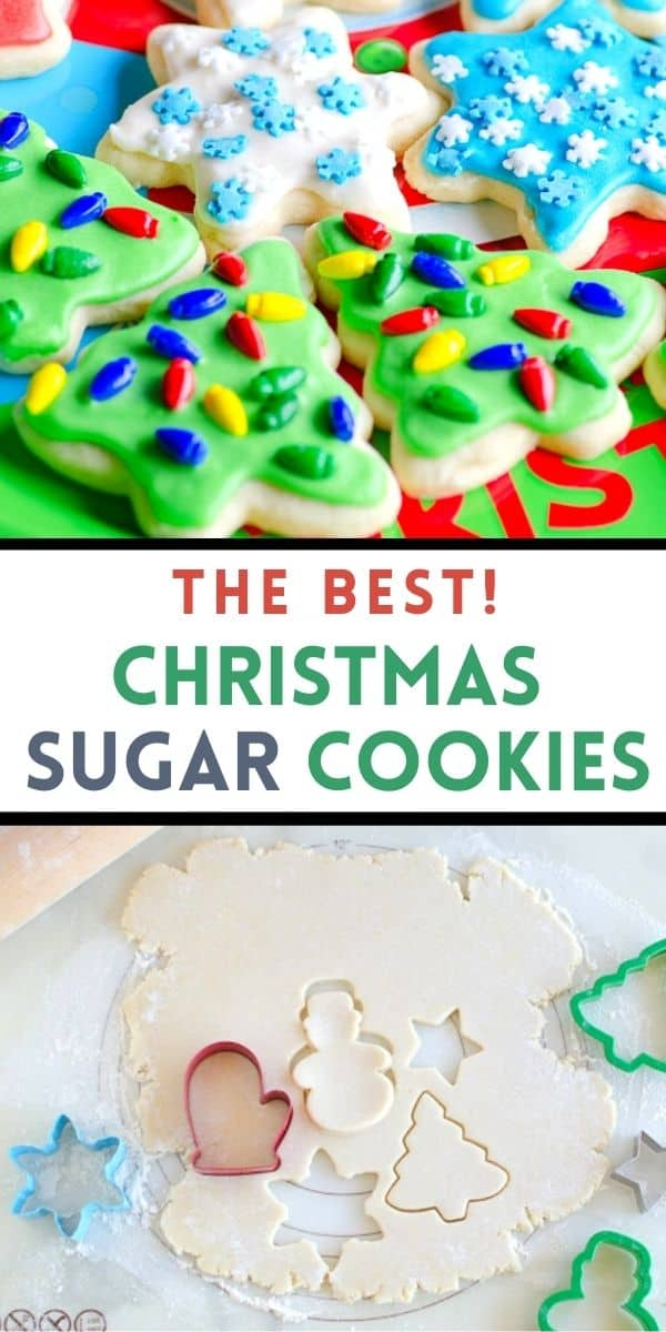 This is the best sugar cookie recipe and my favorite roll out sugar cookies for the Christmas season. Use this easy sugar cookie recipe for any holiday! We included a simple frosting recipe for these sugar cookies with a smooth finish.