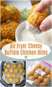pinterest collage for air fryer buffalo chicken bites