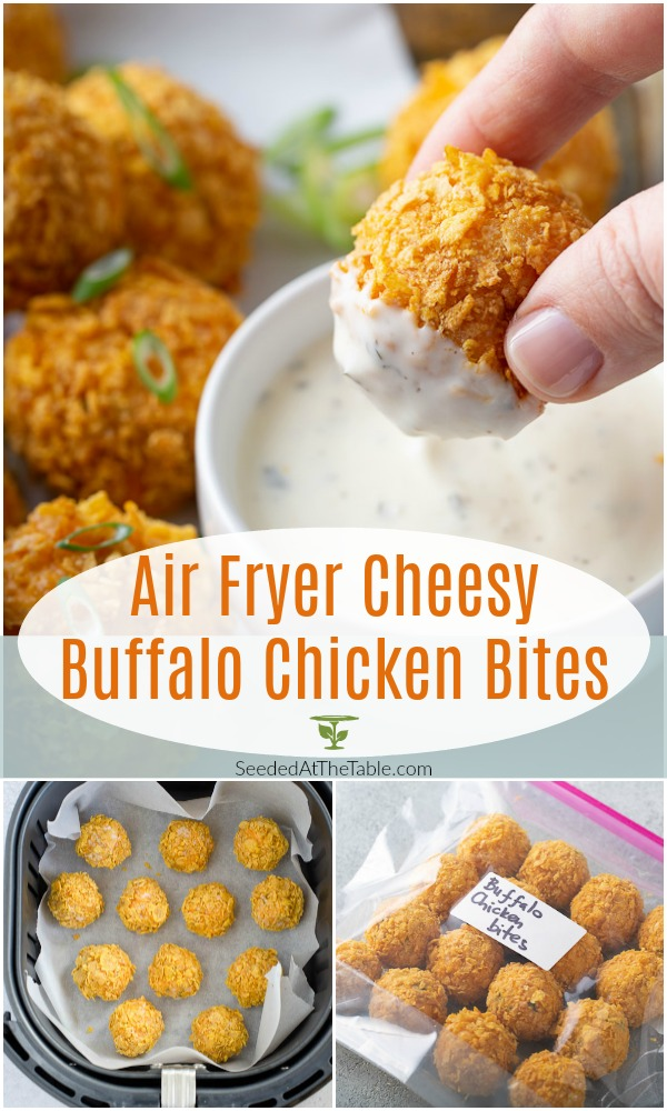These cheesy buffalo chicken bites are made crispy in the air fryer for a finger food version of buffalo cheese dip.  Party guests love these air fryer chicken and cheese balls as an appetizer, but your family will also love them for dinner!