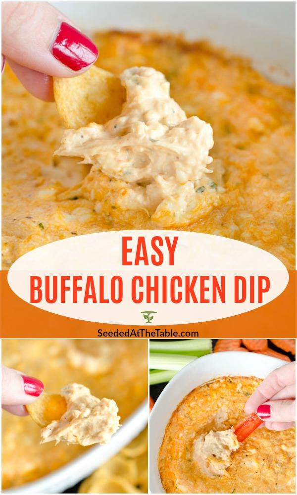 Everyone loves an easy appetizer like this Buffalo Chicken Dip.  This chicken dip tastes like buffalo wings, and goes well with chips, crackers AND vegetables!