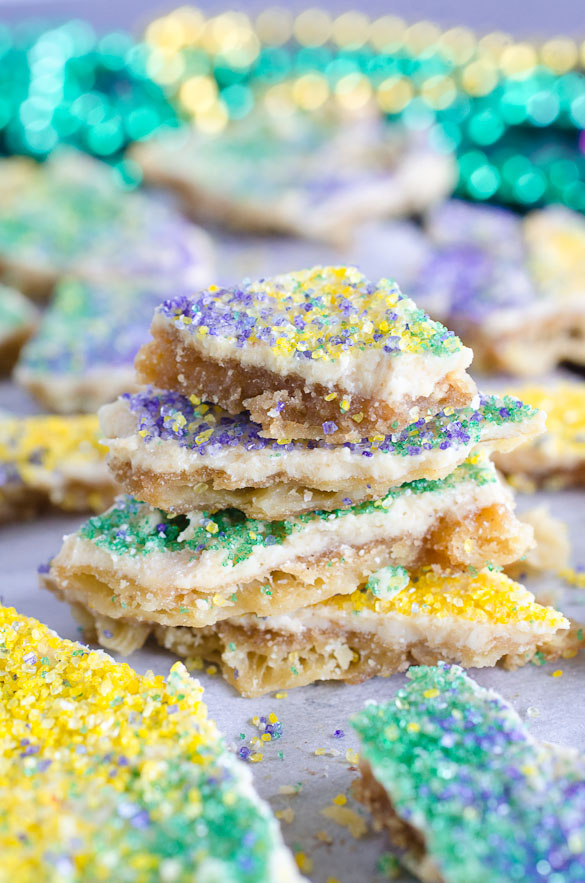 king cake toffee candy with mardi gras colors