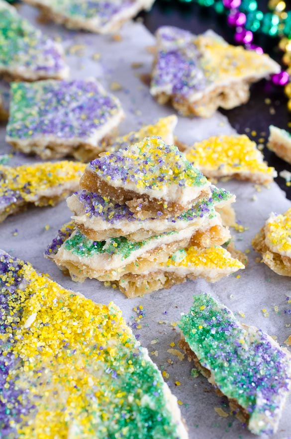 king cake cracker toffee with mardi gras colors