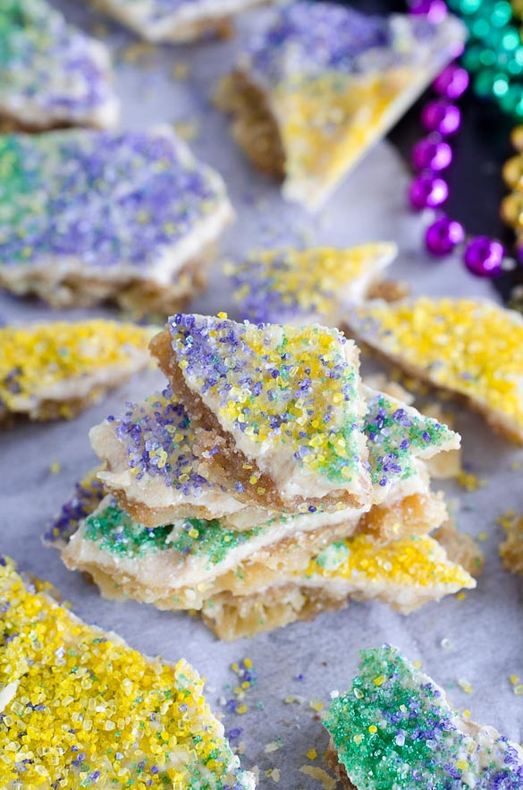 king cake cracker candy with mardi gras colors