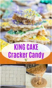 pinterest collage for king cake cracker candy recipe