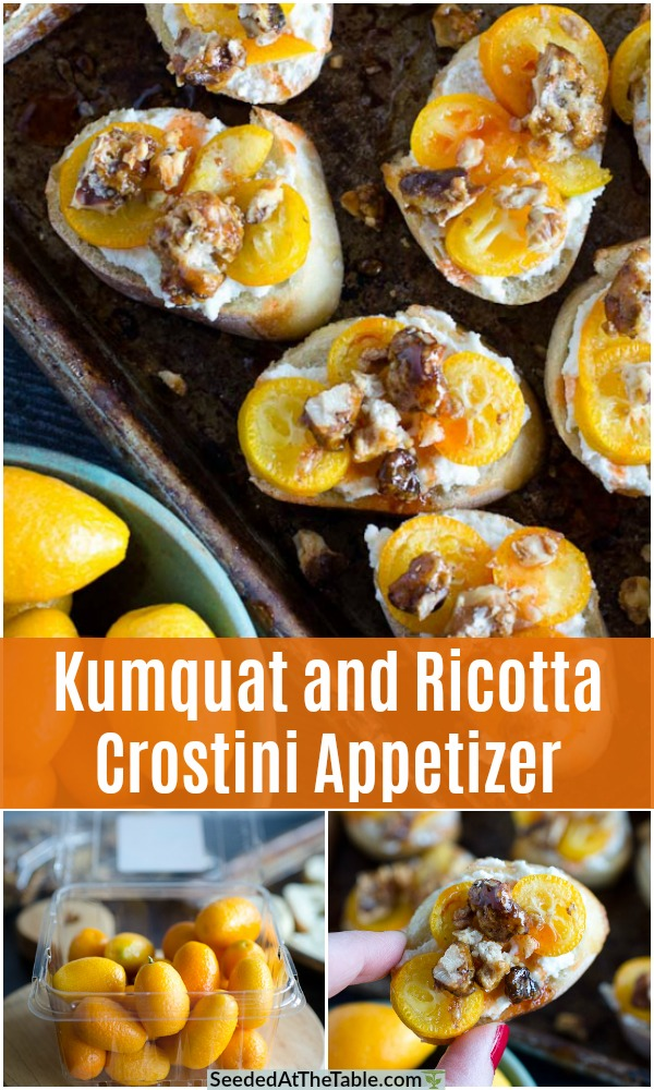 This Kumquat and Ricotta Crostini Recipe is a unique but easy finger food. A kumquat is a small fruit that resembles an orange, but you eat the peel! This appetizer may seem sophisticated but it is so simple and will easily impress your guests.