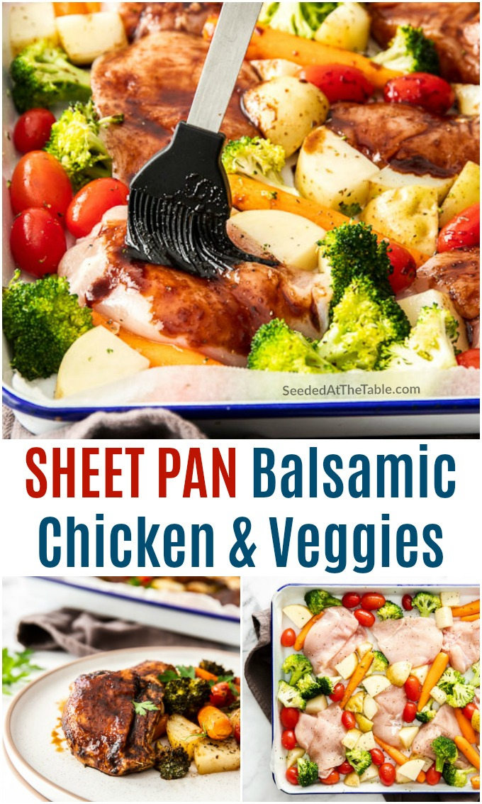 This sheet pan balsamic chicken with roasted vegetables is the perfect easy weeknight meal for feeding your family!