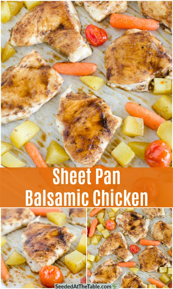 pinterest collage for sheet pan balsamic chicken