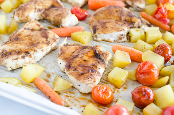 roasted chicken and veggies on sheet pan