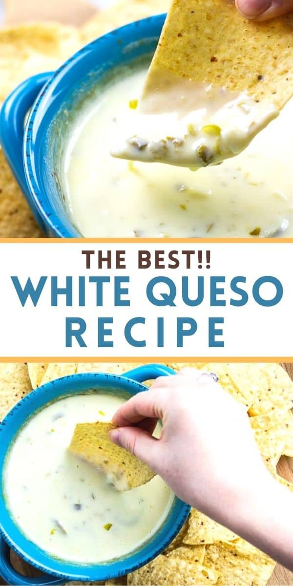 This white queso recipe is the BEST cheese dip and is a copycat from your favorite Mexican restaurant. Only 4 ingredients and 5 minutes for an EASY and authentic queso blanco dip.
