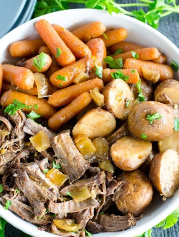 bowl of balsamic pot roast with carrots and potatoes