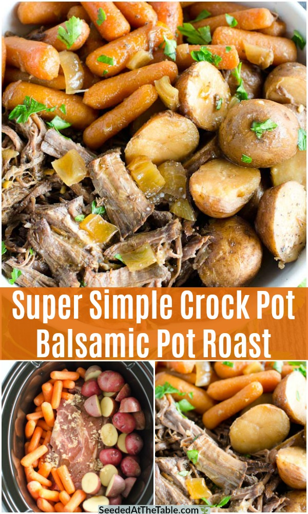 This Crock Pot Balsamic Pot Roast leaves you with tender fall-apart meat and cooked vegetables. Carrots and potatoes are cooked with the roast for an easy one and done meal!