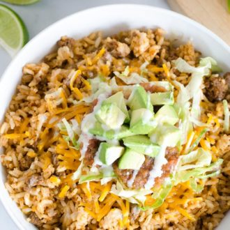 taco rice bowl with fixins