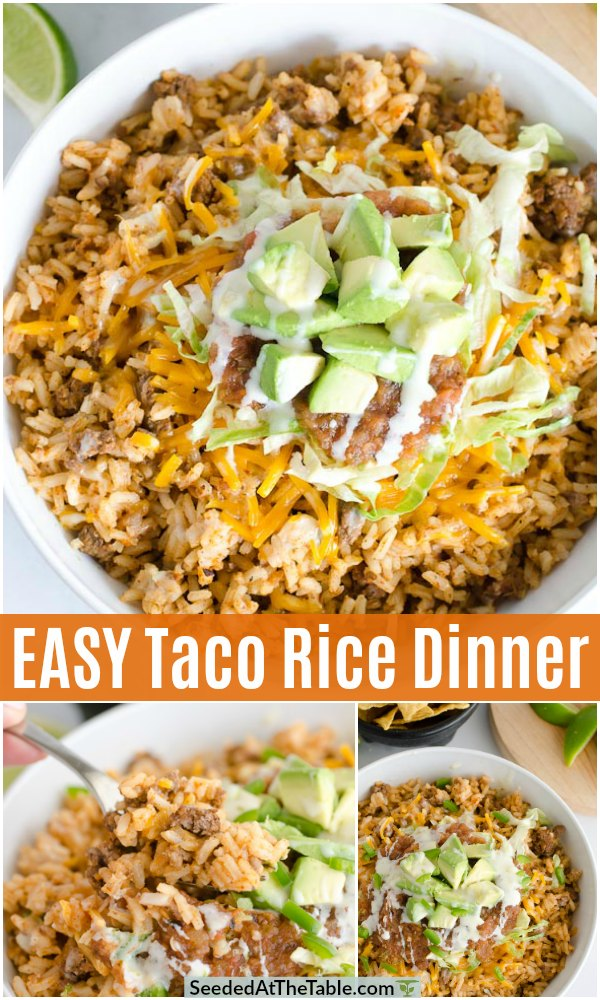pinterest collage for easy taco rice dinner