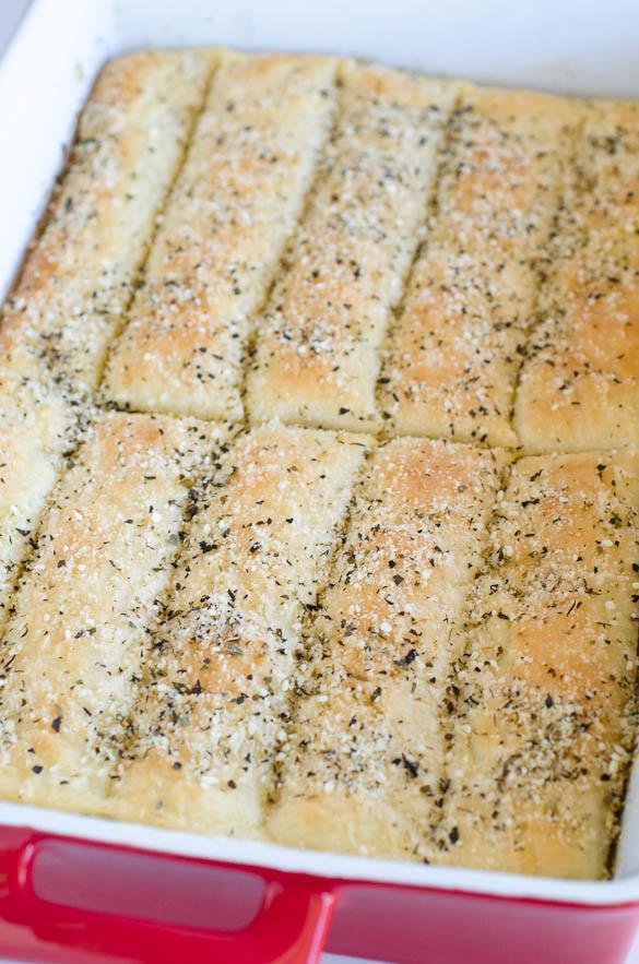 pan of homemade pizza hut breadsticks