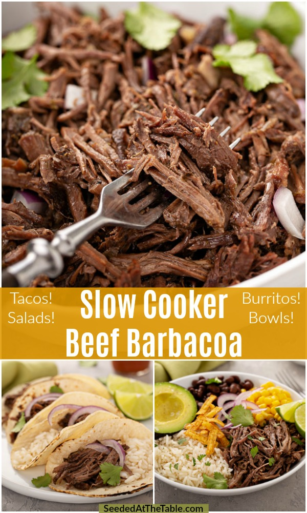 A Chipotle copycat, this Slow Cooker Beef Barbacoa is cooked slowly in a Crock Pot to a tender state creating the perfect shredded beef for your tacos or burrito bowls.