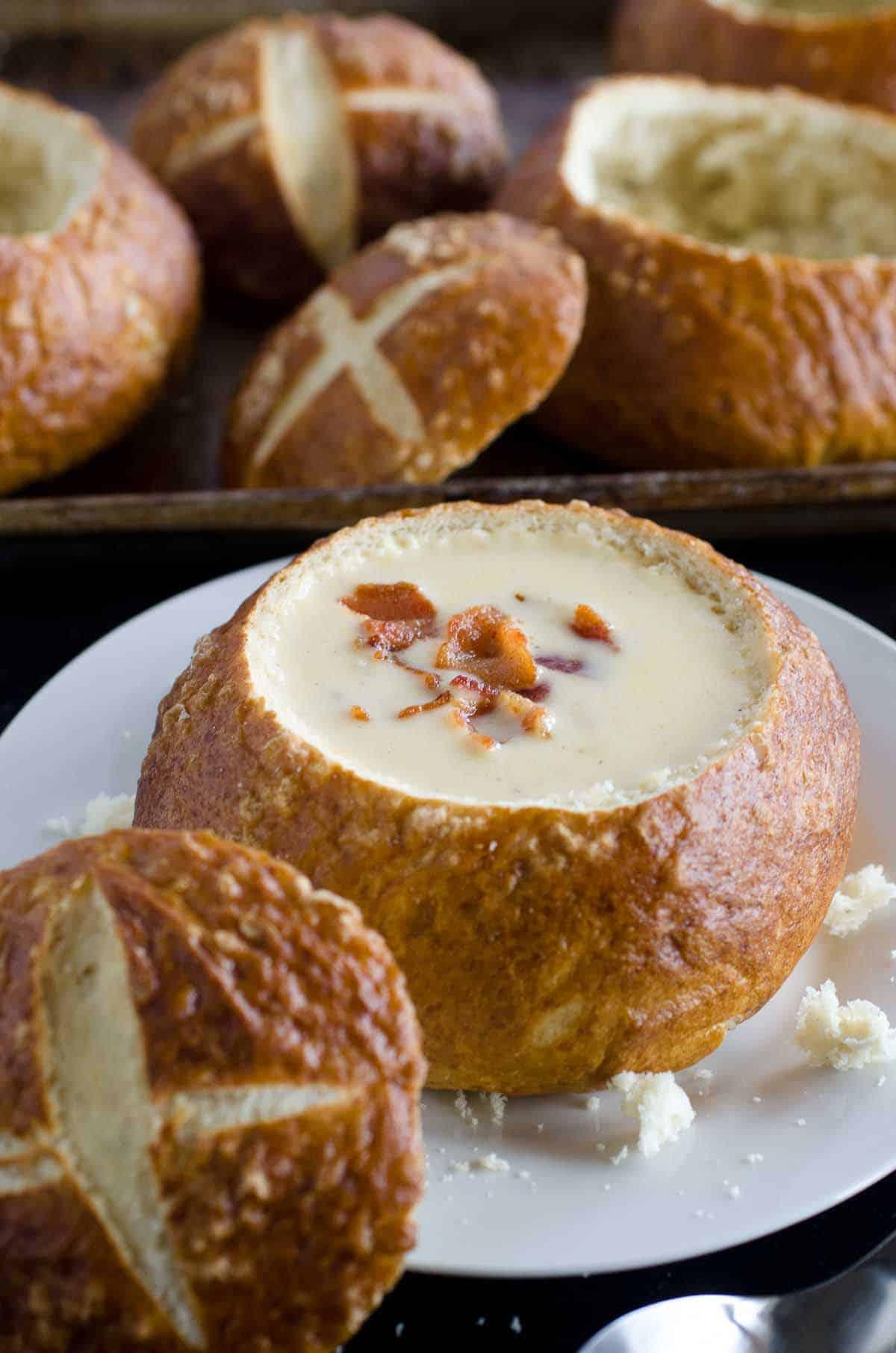 beer cheese soup in pretzel bread bowl