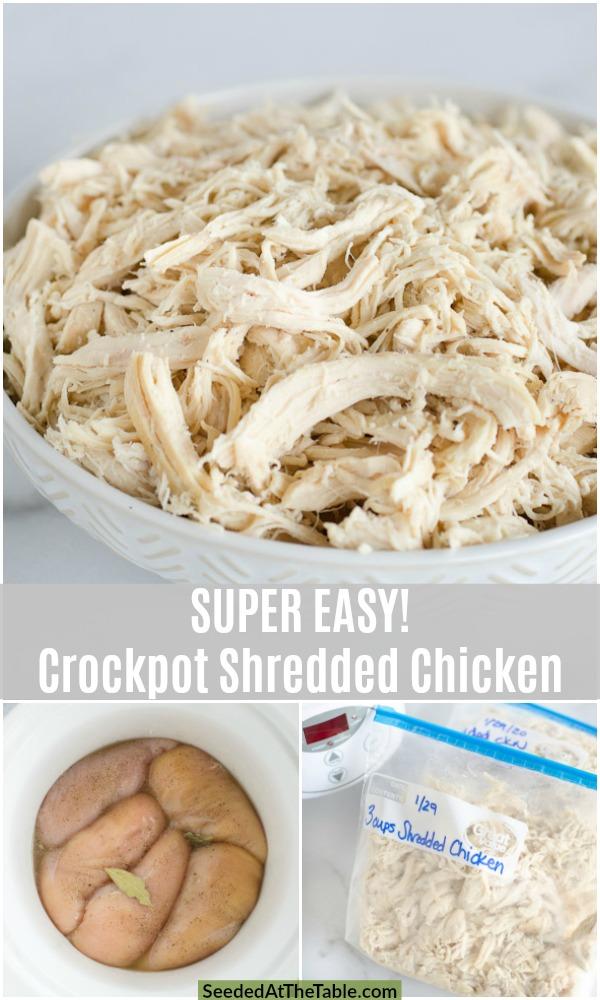 pinterest collage for crockpot shredded chicken