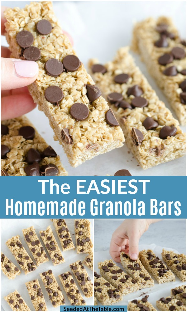 A no-bake recipe for homemade granola bars that is super easy and fast!  This chewy granola bar recipe uses just a few pantry ingredients so you can have a healthy snack ready for your kids any day of the week.
