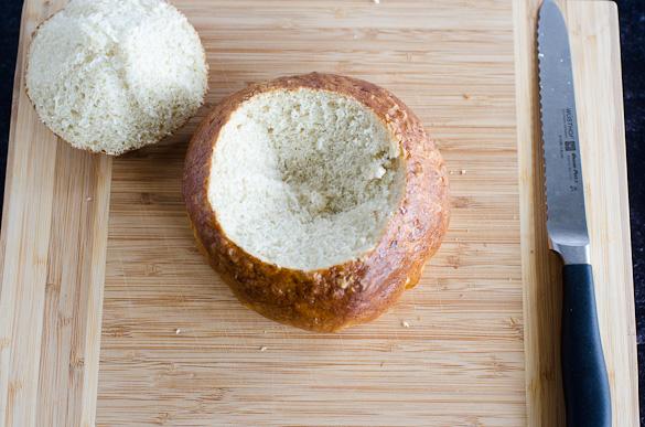 top sliced off pretzel bread loaf