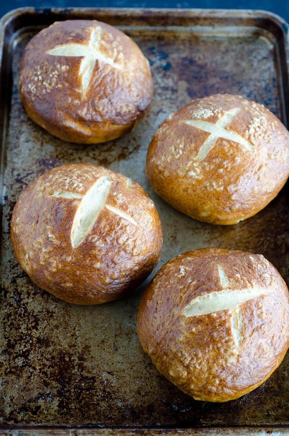 pretzel buns on sheet pan