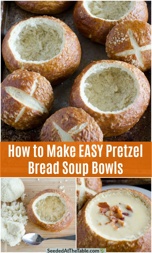 These homemade pretzel bread bowls are perfect for soups or dips.  Try your hand at this easy bread bowl recipe now!