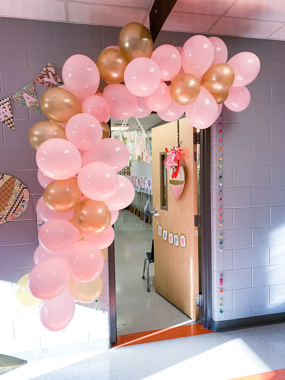 pink and gold balloon banner