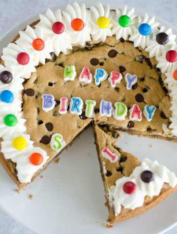 birthday chocolate chip cookie cake
