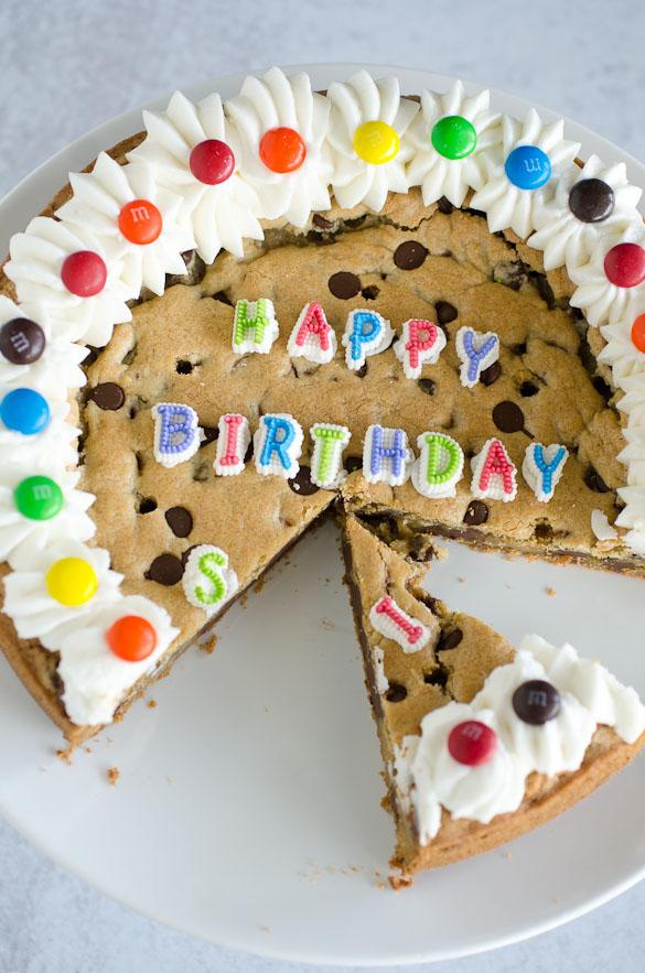 birthday chocolate chip cookie cake