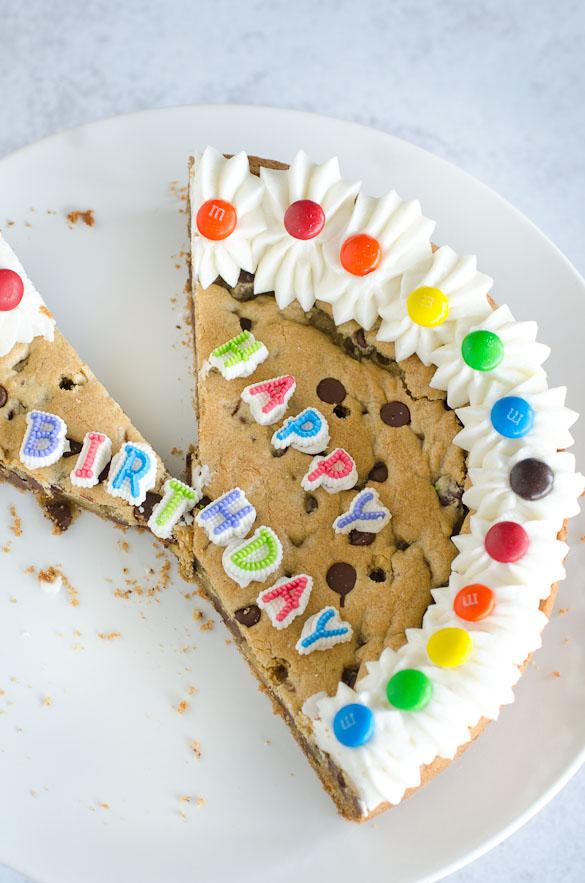 chocolate chip cookie cake birthday cake