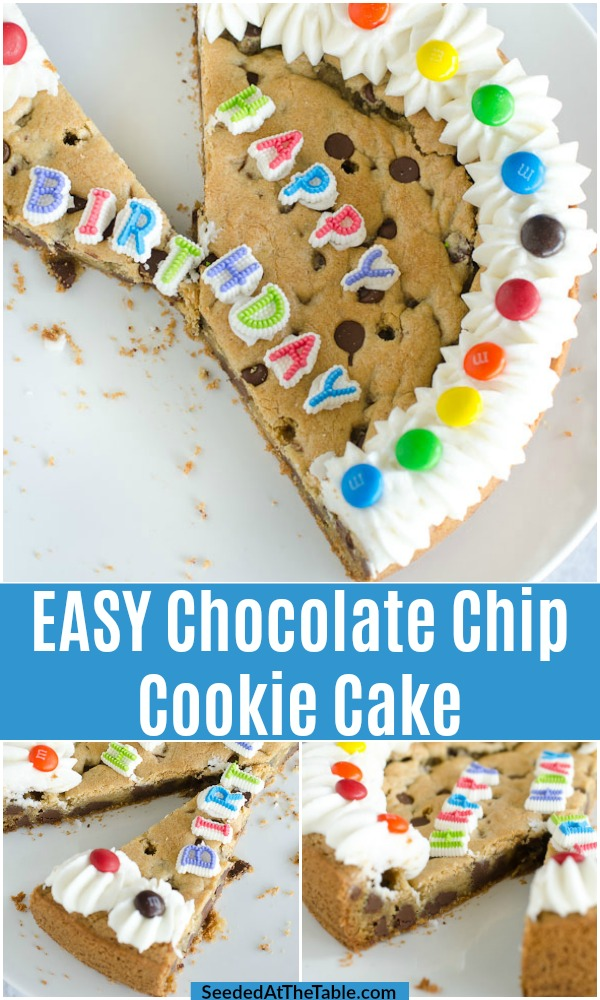 This chocolate chip cookie cake recipe is very easy and super delicious! The cookie dough is pressed into a pan and baked into the best cookie cake for anyone's birthday. This recipe includes a simple buttercream frosting recipe so you can easily decorate the homemade cake.