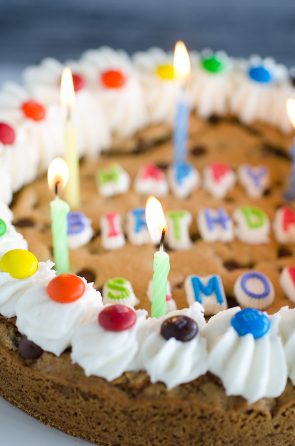 chocolate chip cookie cake with birthday candles