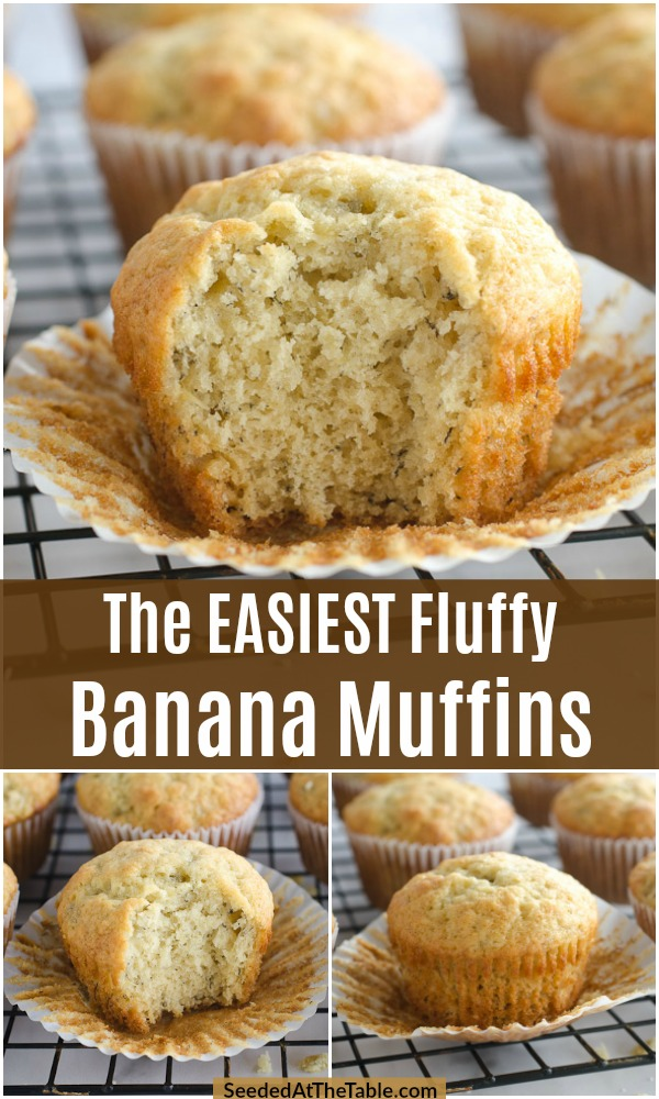 Fluffy and moist banana muffins. This easy banana muffins recipe is a family favorite for breakfast or a snack. Use your ripe bananas to make the best banana muffins!
