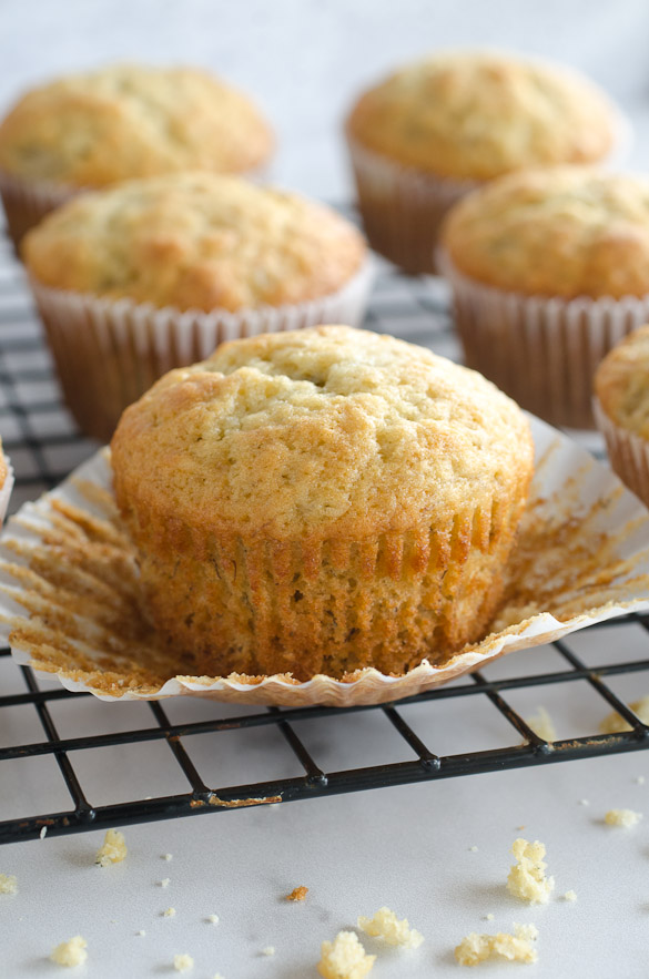 banana muffins on wire rack